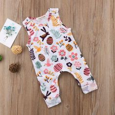 46df11a4a Baby Girl Sleeveless Easter Bunny Romper Jumpsuit