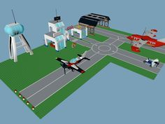 LEGO Airport Set Model available on Turbo Squid, the world's leading provider of digital models for visualization, films, television, and games. Lego City Airport, City Layout, Military Diorama, Legos, Airplane, Base, 3d, Craft, Model
