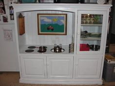 childrens play kitchen out of entertainment center | ... entertainment center that I was turning into a Play Kitchen for my
