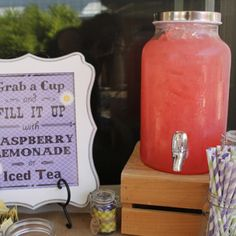 Country Bridal Shower - Drinks Table with Drink Sign