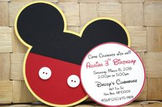 Be my fan on Facebook for sweet deals, secret sales and giveaways! https://www.facebook.com/PaperletteDesigns  Make your guests feel special for these cute Invitations!!  This listing is for 8 Mickey Mouse Invitation, made with layered Card-stock Paper, measures approximately 6 inches. You will receive a coordinating envelopes. Buttons can be changed depending on availability.  These Invitation can be customized to your party color decor. Also Coordinating birthday banners, favor tags, high…
