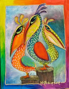 Pelican Bird whimsical colorful Tropical