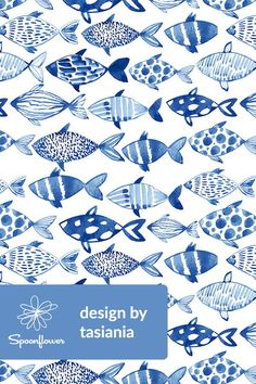 Watercolor fishes by tasiania - Hand painted watercolor fish is cobalt blue on fabric, wallpaper, and gift wrap. Various shades of blue watercolor fish with bold fish patterns. This fish themed pattern is perfect for wallpapering a kitchen or living room or wallpapering a bedroom accent wall. This would be great in a beach house or lake house with a water theme! Click to see more watercolors by this indie designer. #wallpaper #fabric #fish #cobalt #water #lakelife #oceanlife #fishing #