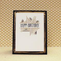 Gold & Black Birthday Card by Lizzie Jones for Papertrey Ink (November 2016)