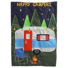 Evergreen Applique Garden Flag Livin the Life Happy Camper RV for sale online Airstream Campers, Retro Campers, Happy Campers, Small Garden Flags, Garden Flag Stand, Evergreen Flags, Evergreen Enterprises, Outdoor Flags, Camping Supplies