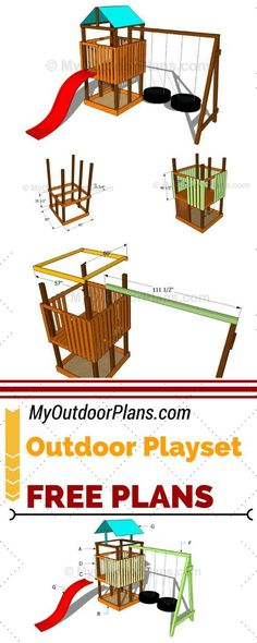 Learn how to build an outdoor playset so you can keep your kids entertained for hours in a row. Moreover, my free outdoor playset plans will guide you through the diy journey and help you save money. See plans at myoutdoorplans.com #diy #playset