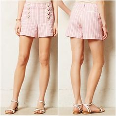 Cartonnier shorts Candystripe Shorts by Cartonnier. Tailored twill shorts with front buttons. Side and back welt pockets. Cotton and spandex. Size 12. Crossed out tag. NEW WITHOUT TAGS. Anthropologie Shorts