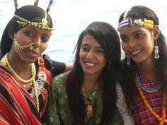 Three Djiboutian women representing the three ethnic groups that inhabit Djibouti. Afar, Yemeni-Arab and Somali.