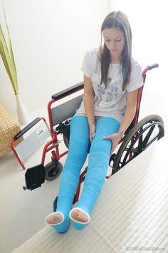 Girl double blue long leg cast