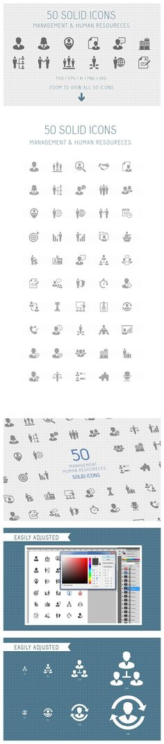 50 Management Solid Icons. Business Infographic. $8.00