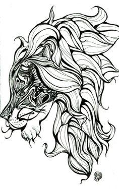 Lion Tattoo Amanda Stamatelaky Scifi Fantasy Art Design 378x601 Pixel