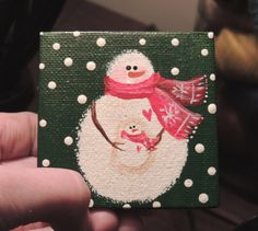 Mini-Me Snowman - A Mini Man for all Seasons ORIGINAL Mini Canvas Acrylic Painting