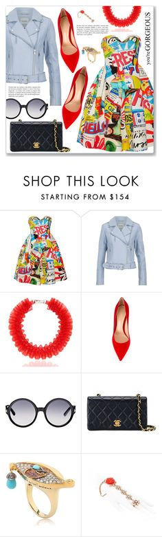"""Outfit of the day"" by dressedbyrose ❤ liked on Polyvore featuring Moschino, Gestuz, Mary Katrantzou, Gianvito Rossi, Tom Ford, Chanel, Sylvie Corbelin and Mawi"
