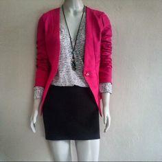 Vesido mangas longas  Blazer pink colar couro