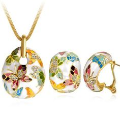 Nouveautés de NINABOX® 2014 – 'Série Printemps à Versailles' – Parure Collier & B.O. femmes – Bijoux fantaisie – Alliage plaqué or jaune – Cristal transparent – Email papillon blanc – Réf. TAG05105BD | Your #1 Source for Jewelry and Accessories