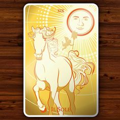 The Sun is a major arcana in the Tarot deck.   The Sun shines high in the sky, carrying Victory and success. Sun rays give light and warmth and bring recovery and harmony. The Sun is a symbol of great positive energy. Be sunny always clear. Act out in the sunshine.   The Sun is an illustration part of the Tarot collection made by BlueVein.