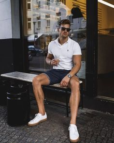 Casual Chic, Men Casual, Summer Outfits For Teens, Casual Summer Outfits, Mode Shorts, Mode Man, Herren Style, Herren Outfit, Stylish Mens Outfits