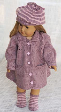 A classy and fabulous little lady in Lilac Design: Målfrid Gausel http://www.doll-knitting-patterns.com/0109D-18-inch-doll-clothes-patterns.html