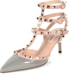 Valentino Rockstud Colorblock Leather Mid-Heel Sandal, Pebble