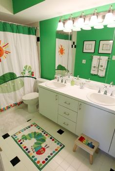 The Very Hungry Caterpillar Kids Bathroom - Love the color, but I probably wouldn't use it.