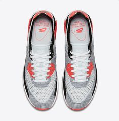 low priced 98427 63caf Chaussure Nike Air Max 90 Pas Cher Femme Femme Ultra 2 0 Flyknit Blanc  Cramoisi Brillant