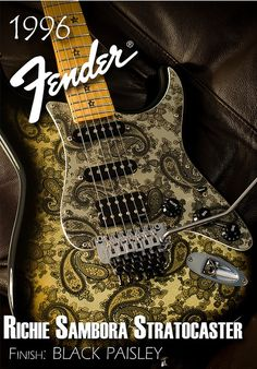 #3 Richie Sambora Black Paisley Stratocaster Fender guitar