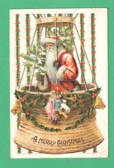 Vintage Santa Claus in ununusal round basket - vintage Christmas postcard - Source is eBay so original image may disappear