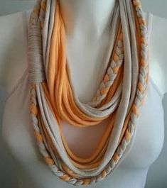 T shirt scarf, t shirt infinity scarf, chain scarf, fabric scarf, cotton fabric scarf T-Shirt Schal T-Shirt Infinity Schal T-Shirt Schal von Lulaor Yarn Necklace, Fabric Necklace, Scarf Jewelry, Textile Jewelry, Fabric Jewelry, T Shirt Necklace, Infinity Necklace, Jewellery, Tshirt Garn