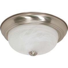 Glomar 2 Light 13 in. Flush Mount Alabaster Glass Finished in Brushed Nickel-HD-198 at The Home Depot