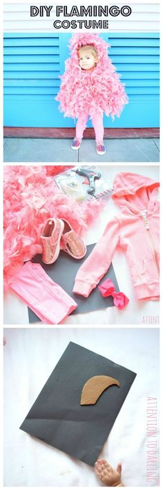 last minute halloween costumes. Last minute, easy DIY pink flamingo Halloween costume! Perfect baby costume or toddler costume for your little girl! Flamingo Halloween Costume, Parrot Costume, Handmade Halloween Costumes, Baby Girl Halloween Costumes, Last Minute Halloween Costumes, Toddler Costumes, First Halloween, Baby Costumes, Costumes For Women