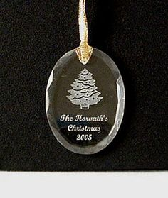 Personalized Christmas Ornaments - Engraved Glass Stocking ...