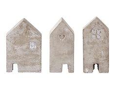Set de 3 figuras decorativas en cemento House - gris