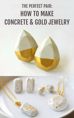 Make your own gift for that special someone with these DIY concrete and gold jewelry!