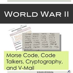 Engage students in the importance of codes in World War 2 with this set of 4  hands-on activities.  Students practice morse code, decipher secret codes, send V-Mail and communicate using code.  Students meet the Navaho code talkers, learn about cryptologists and more.