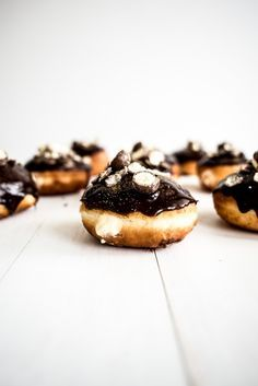 Dark Chocolate and Malt Custard Filled Doughnuts