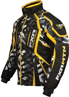 FXR VAPOUR PRINT Jacket - White Stike-Yellow - Snowmobile Gear