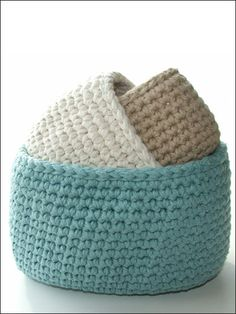 Pattern: oval cotton storage bins ... I wish I could knit/crochet. These are so cute.