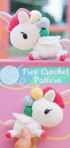 Crochet Unicorn Pattern Free, Crochet Amigurumi Free Patterns, Crochet Animal Patterns, Knitting Patterns, Knitting Ideas, Blanket Patterns, Diy Crochet Unicorn, Easy Patterns, Knitting Yarn