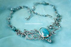 """""""Heaven"""" Silver necklace with agate and aquamarine 