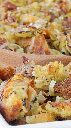 This easy Apple Sage Sausage Stuffing is incredibly flavorful from the apples, fresh herbs, apple cider, leeks and toasted pecans! Thanksgiving Feast, Thanksgiving Recipes, Fall Recipes, Holiday Recipes, Sausage Stuffing, Sage Sausage, Main Dishes, Side Dishes, Pork Bacon
