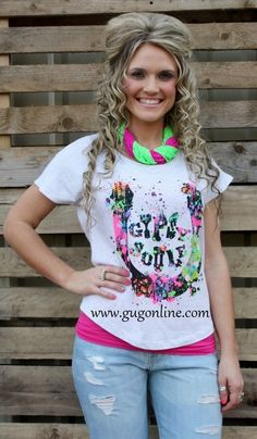 Use the discount code GUGREPKCAR for 10% off your entire order at www.gugonline.com! Gypsy Soule Splatter Painted Horseshoe Heather Grey Top