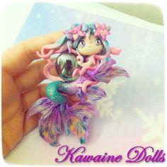 Atlantis Mermaid Necklace cute kawaii in polymer clay por Kawaine