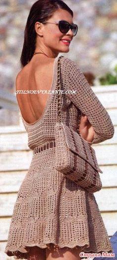 Сумка и летнее платье с глубоким декольте и открытой спиной выполнены крючком Размер платья : 42 Для вязания сумки и платья крючком Вам потребуется: