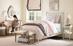 White, pale pink, and brown girl's room        Don't let dreams always be dreams