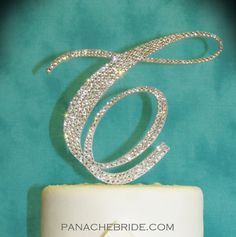 Monogram Cake Toppers with Swarovski crystals. Add gilts and glam to your wedding cake!  www.panachebride.etsy.com