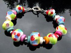Handcrafted Rainbow Lampwork Bracelet Handmade by BrooklynBeadGoddess,