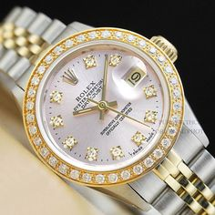 LADIES ROLEX DATEJUST TWO TONE 18K YELLOW GOLD/SS PINK DIAMOND WATCH #Rolex