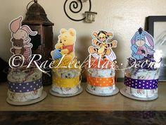 Set of 4 Winnie The Pooh Baby characters Diaper Cake Minis/baby Tigger/baby Eeyore/baby piglet/baby winnie the pooh baby shower decorations