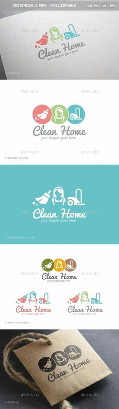 Clean Home Logo Template #design #logotype Download: http://graphicriver.net/item/clean-home-logo-template/12739161?ref=ksioks
