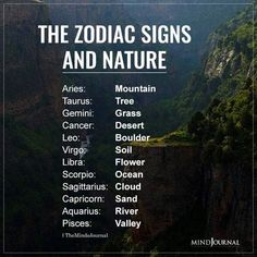 Zodiac Signs As Elements Of Nature: Aries: Mountain; Taurus: Tree; Gemini: Grass; Cancer: Desert; Leo: Boulder; Virgo: Soil; Libra: Flower; Scorpio: Ocean; Sagittarius: Cloud; Capricorn: Sand; Aquarius: River; Pisces: Valley